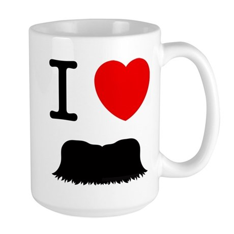 I Heart Mustache Large Mug by Staches