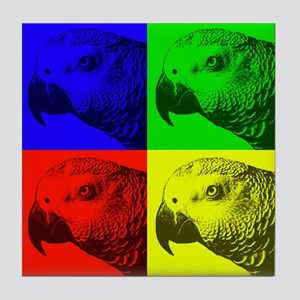 Multi Colored African Greys Tile Coaster