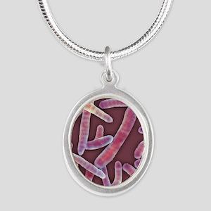 E. coli bacteria, SEM - Silver Oval Necklace