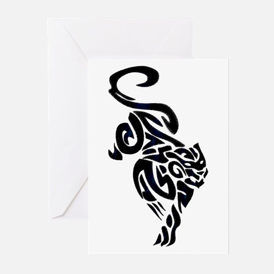 Black Panther Tribal Art 1 Greeting Cards (Package