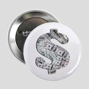 """Money - Hundred Dollar Bills 2.25"""" Button"""