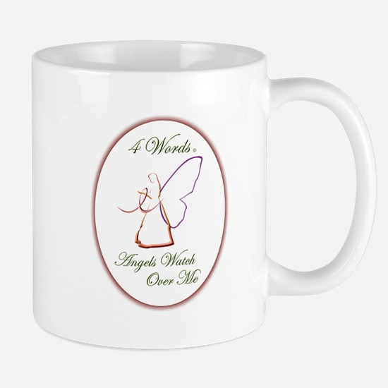 4 Words - Angels Watch Over Me - Breast Cancer Mug