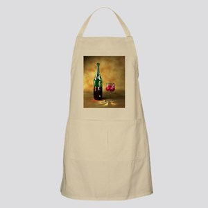 Red wine bottle and glass, artwork - Apron