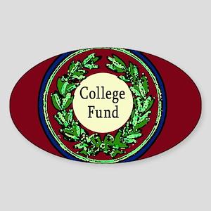College Fund Tip Jar Oval Sticker