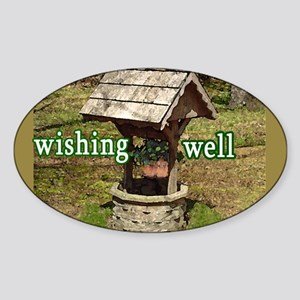 Wishing Well Tip Jar Oval Sticker