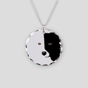 Border Collie Head 1 Necklace Circle Charm