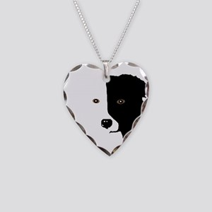 Border Collie Head 1 Necklace Heart Charm