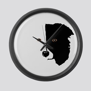 Border Collie Head 1 Large Wall Clock