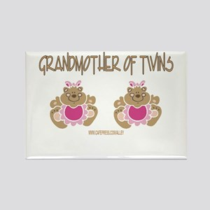 Grabdmother Of Twins (2 Girls) Rectangle Magnet