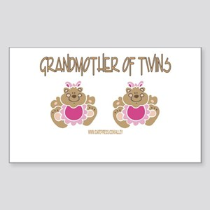 Grabdmother Of Twins (2 Girls) Sticker (Rectangula