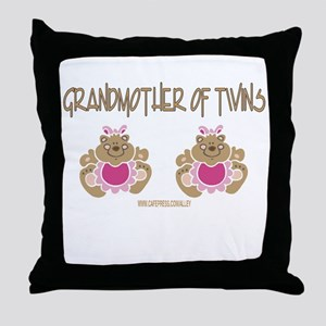 Grabdmother Of Twins (2 Girls) Throw Pillow