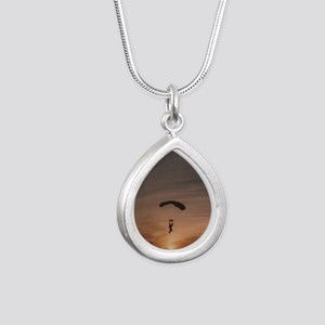 Sunset Skydiver Silver Teardrop Necklace