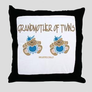 Grandmother Of Twins (2 Boys) Throw Pillow