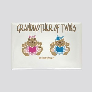 Grandma Of Twins- Boy/Girl Rectangle Magnet