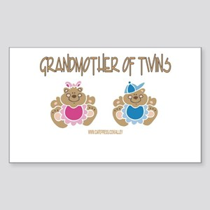 Grandma Of Twins- Boy/Girl Rectangle Sticker