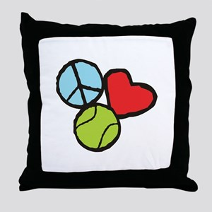 Peace, Love, Tennis Throw Pillow