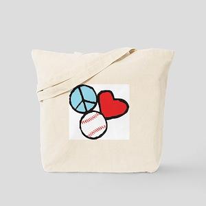 Peace, Love, Baseball Tote Bag