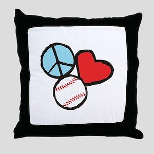 Peace, Love, Baseball Throw Pillow