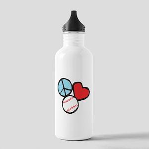 Peace, Love, Baseball Water Bottle