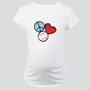 Peace, Love, Baseball Maternity T-Shirt