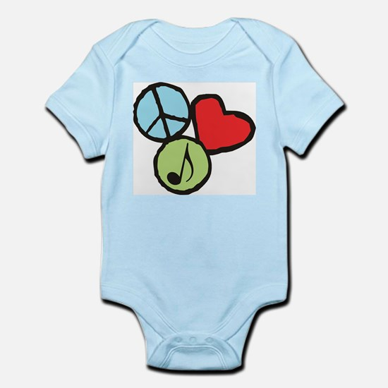 Peace, Love, Music Infant Bodysuit