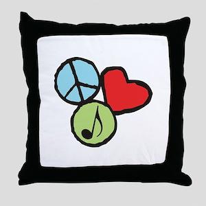 Peace, Love, Music Throw Pillow