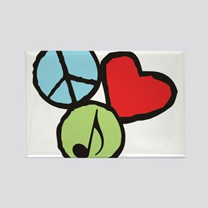 Peace, Love, Music Rectangle Magnet