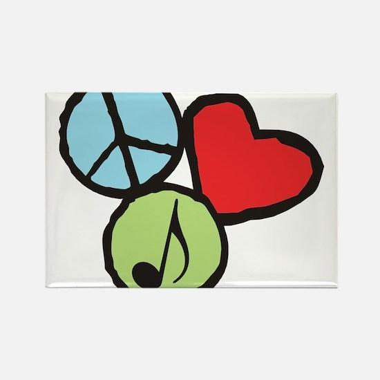 Peace, Love, Music Rectangle Magnet