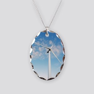Wind turbine, Denmark - Necklace Oval Charm