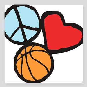 "Peace, Love, Basketball Square Car Magnet 3"" x 3"""