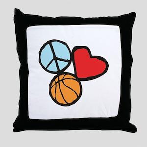 Peace, Love, Basketball Throw Pillow