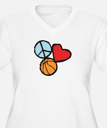 Peace, Love, Basketball Plus Size T-Shirt