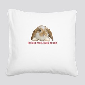 Its hard work being so cute Square Canvas Pillow
