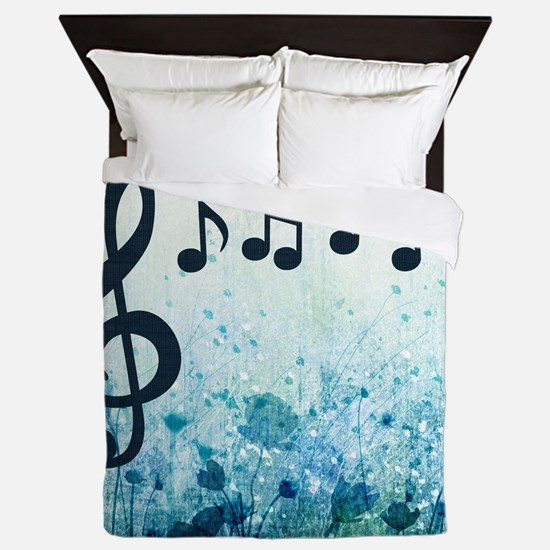 Music Notes and Clef Queen Duvet