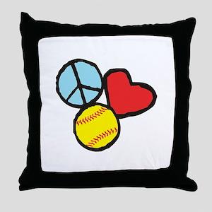 Peace, Love, Softball Throw Pillow
