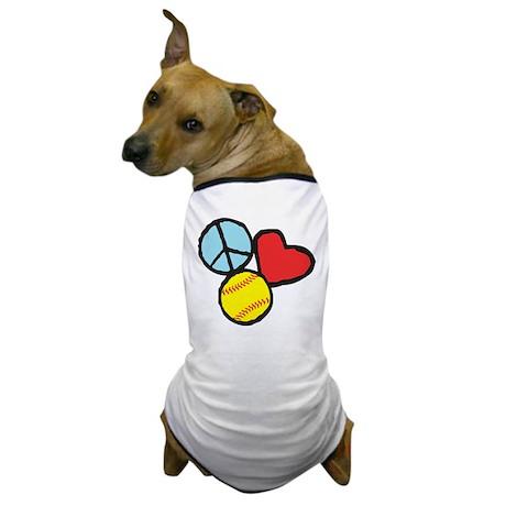 Peace, Love, Softball Dog T-Shirt