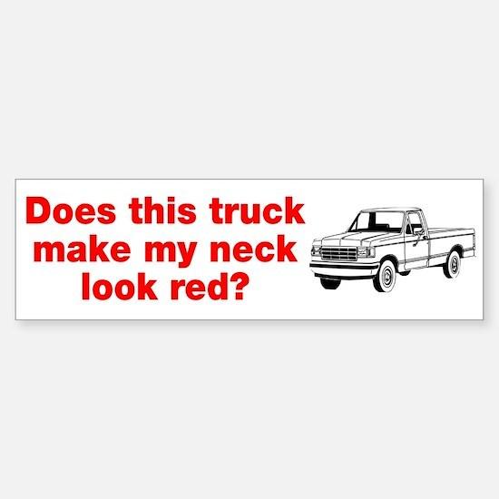 Truck Make Neck Look Red Sticker (Bumper)