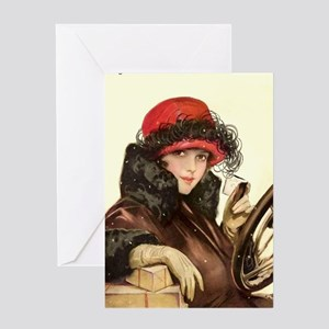 Flapper Fisher Girl Vintage Illustration Greeting
