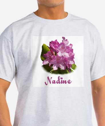 Nadine: Purple Flower Ash Grey T-Shirt