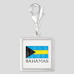 Bahamas Flag Silver Square Charm