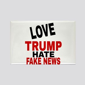 LOVE TRUMP HATE FAKE NEWS Magnets