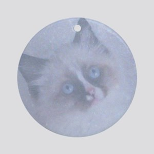 Snowy Kitten Ornament (Round)