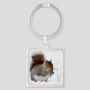 Squirrel in the snow Square Keychain