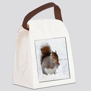 Squirrel in the snow Canvas Lunch Bag