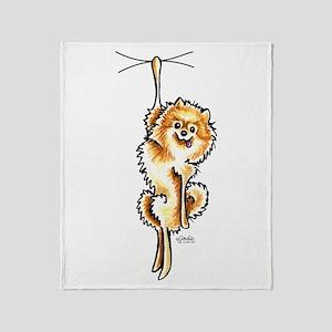 Clingy Orange Pomeranian Throw Blanket
