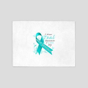 I Wear Teal Because I Love My Great Grandma 5'x7'A