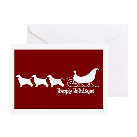 """English Cocker """"Sleigh"""" Greeting Cards (Package of"""