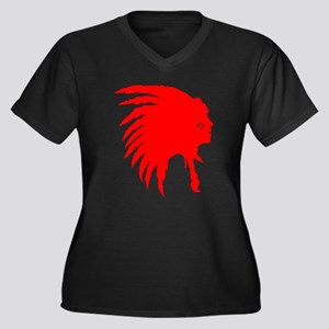 Red Indian Headdress Outline Plus Size T-Shirt