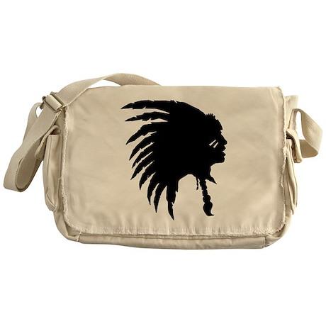 Indian Headdress Outline Messenger Bag