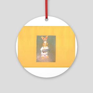 Yellow Gold Hersheys Rabbit. Ornament (Round)